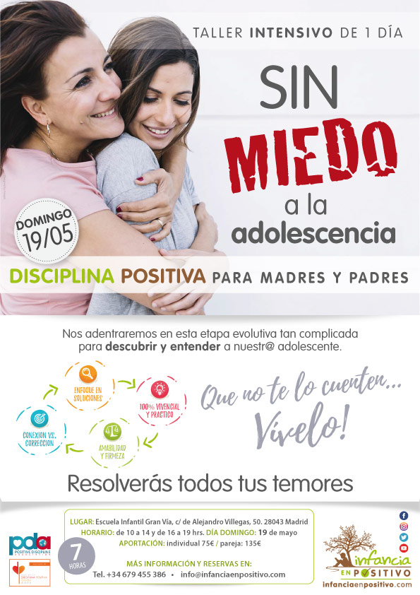 Taller de Disciplina Positiva para madres y padres de ADOLESCENTES